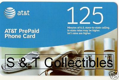 New 125 Minute A T & T PrePaid Phone Card Calling Card