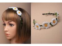Narrow black ribbon wrapped aliceband with daisy flower - JTY447
