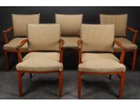 Vintage retro antique wooden Danish armchair studded wool beige chair x 1 2 4 5