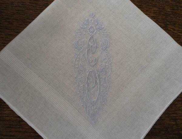 Early Vintage Madeira Wedding Hanky Blue Monogram G Deco Embroidery