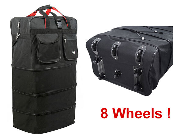 """36"""" Black Rolling Expandable Duffle Bag Spinner Suitcase Luggage with 8 Wheels"""