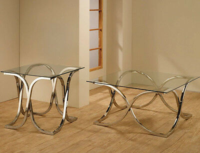 Glass Top Metal Finish - NEW SLEEK 3PC VARICK GLASS TOP CHROME METAL FINISH COFFEE END TABLE SET
