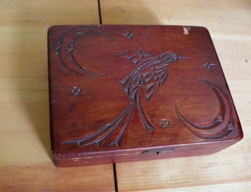 Antique Hand made First Nations Box and Mixed lot of Mahjong tiles