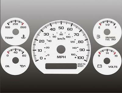1998-2005 Chevrolet S10 Blazer NON TACH MANUAL Dash Cluster White Face Gauges