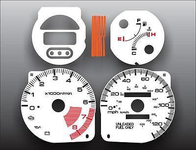 1993-1997 Honda Civic del Sol Dash Instrument Cluster White Face Gauges