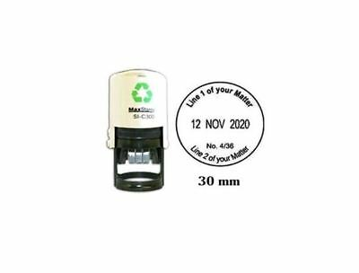 Self Inking 30mm Round Custom Stamp With Date Personalised Office Stamper  ()