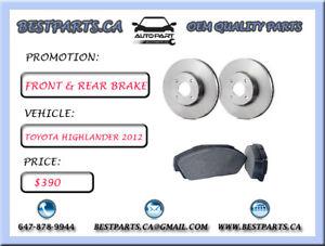 Front and Rear brake set Toyota Highlander 2012