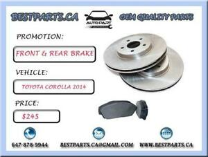 Front and Rear brake set Toyota Corolla 2014
