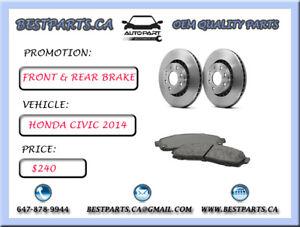 Front and Rear brake set Honda Civic 2014