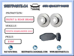 Front and Rear brake set Toyota Highlander 2012