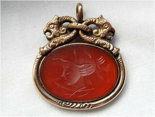 Antique Victorian Gold Filled Intaglio Carnelian Watch Fob with Basilisk?
