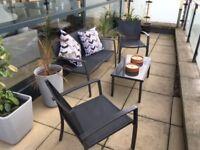 Oudoor dark grey metal patio set