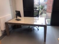 Executive desk, side drawer & office chair
