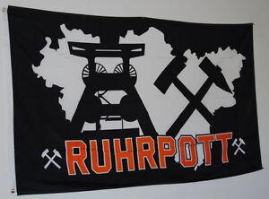 FAHNE FLAGGE RUHRPOTT RP 3773 MEINE HEIMAT MEINE LIEBE GLÜCK AUF  90 cm x 150 cm
