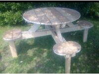 Handmade garden table and seating for 4