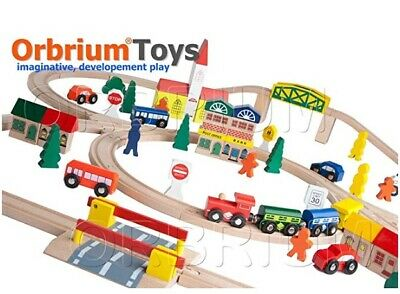 Orbrium 100 Piece Triple Loop Wooden Train Set Track Generic Fits Thomas Brio