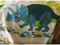 Dinosaur curtains and duvet set