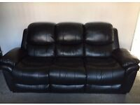 3 + 2 seater sofa's black faux leather