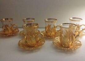 Turkish Tea/Coffee Glasses x6 With Gold Plated Holders And Saucers