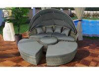 Stunning Grey Rattan Day Bed / Lounge Set