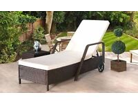 **FREE UK DELIVERY** Rattan Adjustable Lounger Sun Bed with Cushions - OVER 50% OFF!