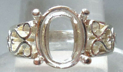 Size 8  PRE-NOTCHED SOLID 925 SILVER 9×11 mm OVAL RING MOUNT / SETTING #R612