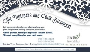 Christmas party & event rentals- chairs, tables, chafing dish