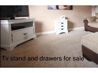 Tv cabinet and drawers shabby white heavy