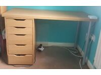 Oak Desk with 5 drawers from IKEA