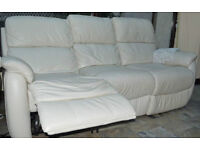 3 Seater cream power recliner leather sofa