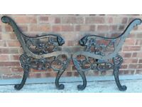 Pair Of Vintage Black Cast Iron Garden Bench Ends With Lion Head Arm Terminals