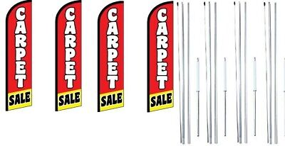 Carpet Sale Windless Flag With Complete Hybrid Pole Set- 4 Pack