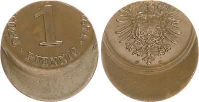 Kaiserreich 1 Reichspfennig 1874 C  30% dezentriert,  J.1  fast vorzüglich