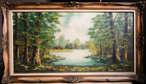 "Original oil painting Forest Landscape by Werner, 55""x31"" framed"
