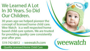 Child Care, Day Care, Licensed Home Child Care with Wee Watch