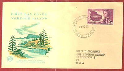 NORFOLK ISLAND 1960 LOCAL GOVERNMENT FIRST DAY COVER WCS FINE
