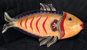 NEW Handpainted Fish Shaped Platter Serving Dish for sushi/ fish