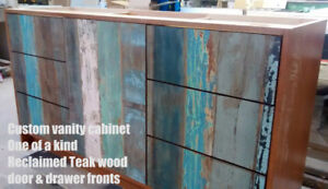 Custom built reclaimed or solid wood kitchen + vanity cabinets