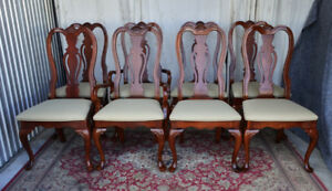 A Classy Vintage Dining Set with 8 Chairs, newly refurbished