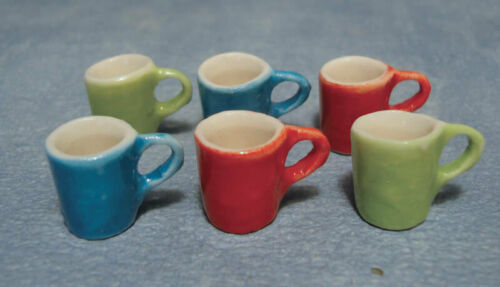 Dollhouse Miniature Set of 6 Colored Mugs