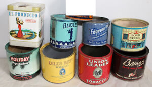 Old Tobacco Pipe Cigarette tins - 8 advertising cans