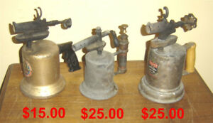 3 Antique Blowtorches - $15.00 - $25.00 Man Cave items
