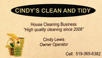 Cindy's Clean and Tidy is booking starting September 8th 2015