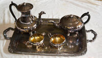 """Marlboro silver plated """"Old English"""" reproduction tea set by E.P"""