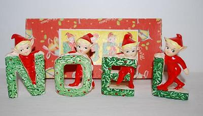 Vintage Christmas Pixie NOEL Elves Figurines Sprite Red Green JAPAN w/ BOX