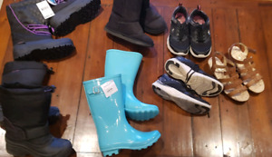 Girls Size 3, 4 seasons footwear lot - sold all together only