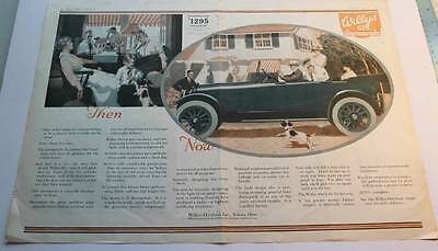 Vintage 2 page color ad 1917 Willys Six Willys-Knight and Overland Automobiles