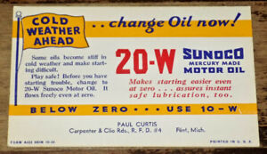 VINTAGE SUNOCO MOTOR OIL INFORMATION ADVERTISING CARD FROM 1950s