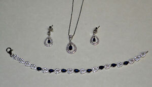 Sapphire Bracelet with matching necklace and earrings.