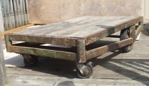 Vintage Factory Industrial Cart Table Steam Punk Truck Dolly
